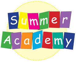The words Summer Academy are in colorful block squares, while the sun rests behind the words.