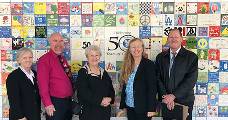 Board Members with Dr. Friedman at tile wall